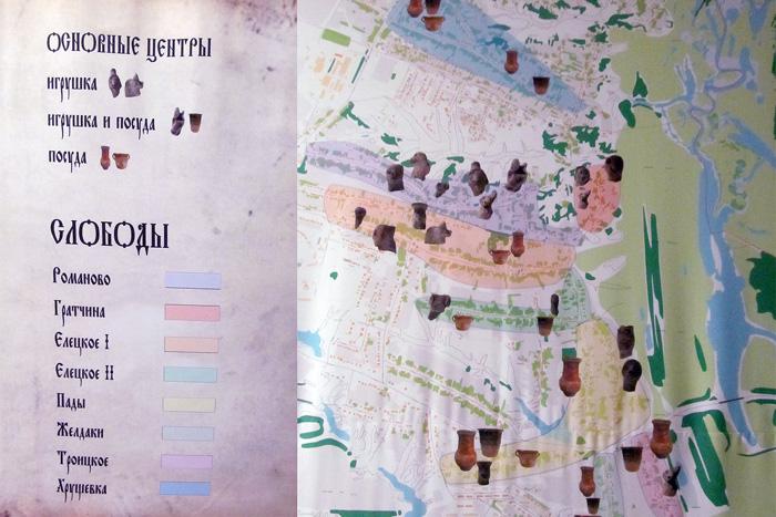 Основные центры гончарных промыслов на территории Липецкой области